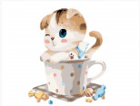 BRM8395 Живопись по номерам Котик в чашке (Без коробки)