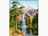 NB957R Картина по номерам Водопад в сосновом лесу Babylon