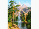 VP957 Картина по номерам Водопад в сосновом лесу DIY Babylon