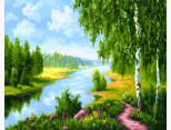 BK-GX22577 Картина раскраска Березки у реки (Без коробки)