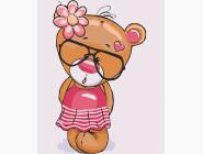Детские раскраски по цифрам без коробки Медвежья Роузи