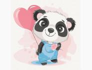 Детские раскраски по цифрам без коробки Панда с шариком