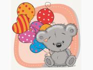 Детские раскраски по цифрам без коробки Медвежонок с шариками