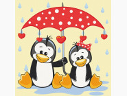 Детские раскраски по цифрам без коробки Пингвины под зонтиком