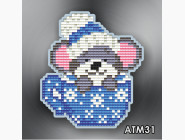 Алмазная вышивка Бабочки и магниты Мышонок в чашке синей