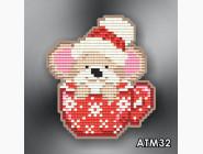 Алмазная вышивка Бабочки и магниты Мышонок в чашке красной