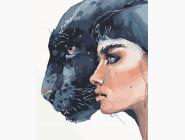 Портреты, люди на картинах по номерам Девушка и пантера