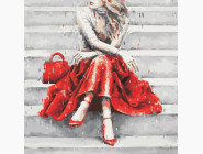 Портреты и знаменитости: раскраски без коробки Девушка в красном