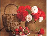 Цветы, натюрморты, букеты Клубника и цветы