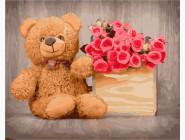 Цветы, натюрморты, букеты Мишка с цветами