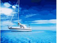 Море, морской пейзаж, корабли Белая яхта