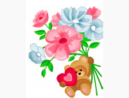 Детские раскраски по цифрам без коробки Медвежонок с цветами