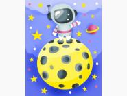 Детские раскраски по цифрам без коробки Космонавт