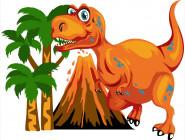 Детские раскраски по цифрам без коробки Тираннозавр