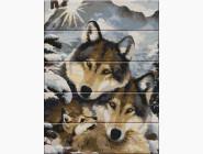 Картина по номерам на дереве Семья волков