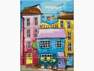 Картина по номерам на дереве Цветная улица