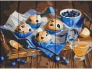 Картины по номерам для кухни Сладости с черникой