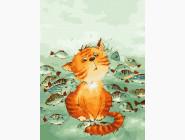 Коты и собаки: картины без коробки Кот с рыбками