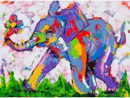 Животные: картины без коробки Цветной слонёнок