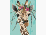 Животные: картины без коробки Жирафа с венком
