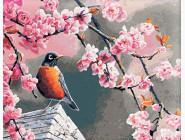 Птицы и бабочки картины по номерам Снегирь и сакура