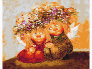 Дети, ангелочки, феи: картины без коробки Пара солнечных ангелов