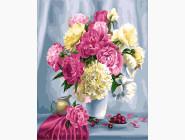 Букеты и натюрморты: картины без коробки Розовые пионы и вишни