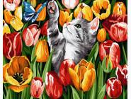 Коты и собаки: картины без коробки Котик в тюльпанах