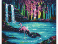 Птицы и бабочки: картины без коробки Фламинго у водопада