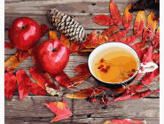Раскраски для кухни Чай с осенними дарами