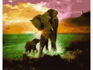 Животные: картины без коробки Игры слонов