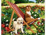 Коты и собаки: картины без коробки Дачные любимцы