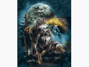 Животные и рыбки Волки при луне
