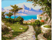 Морской пейзаж: картины без коробки Город у моря