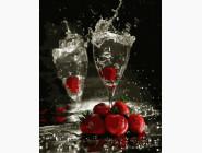 Картины по номерам для кухни Шампанское с клубникой
