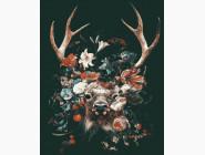 Животные: картины без коробки Олень в цветах