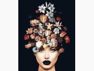 Портреты и знаменитости: раскраски без коробки Женщина с цветами