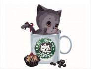 Серый котик в кофейной чашке
