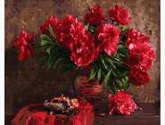 Цветы, натюрморты, букеты Красные пионы в вазе