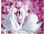 Лебеди в окружении цветов