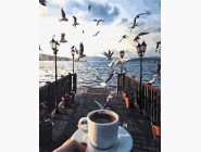 Картины по номерам для кухни Утро с чайками