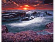Пейзаж и природа Закат у водопада