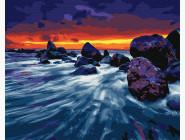 Море, морской пейзаж, корабли Закат у скал