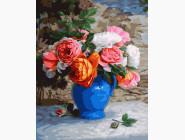 Пионы в синей вазе