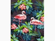 Птицы и бабочки картины по номерам Фламинго в цветах