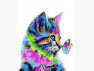 Радужный котенок и бабочка
