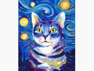 Коты и собаки Кот в стиле Ван Гог
