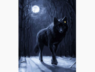Волк при луне