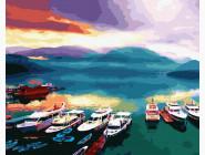 Море, морской пейзаж, корабли Корабли на закате
