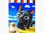 Коты и собаки картины по номерам Черный котенок